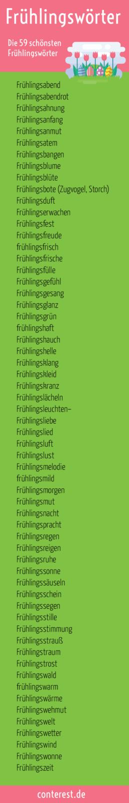 Frühlingswörter – Wortliste