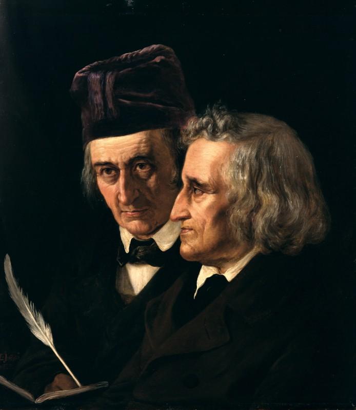 Doppelporträt der Brüder Wilhelm Grimm (links) und Jacob Grimm von Elisabeth Jerichau-Baumann, 1855.