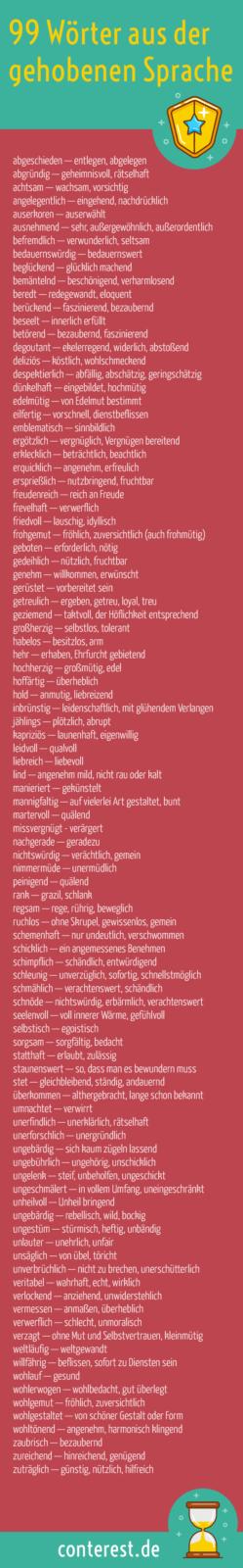 Wortliste gehobene Sprache